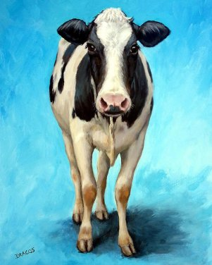 holstein-cow-standing-on-turquoise-dottie-dracos